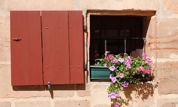 Vieille fenêtre avec volet et jardinière Vieille ville, Nuremberg, Bavière, Allemagne, Europe sur Torsten Krüger