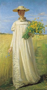 Michael Ancher. Anna Ancher returning from the field, 1902