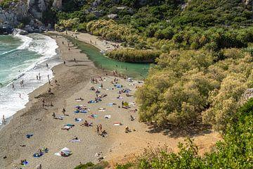 La plage de palmiers de Preveli, Crète sur Peter Schickert