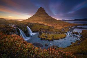 Kirkjufell IJsland In de Herfst Zonsondergang