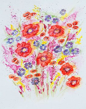Aquarel van een kleurrijk boeket bloemen van Bianca ter Riet
