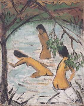 Drei badende im Wasser, Otto Mueller - ca1913