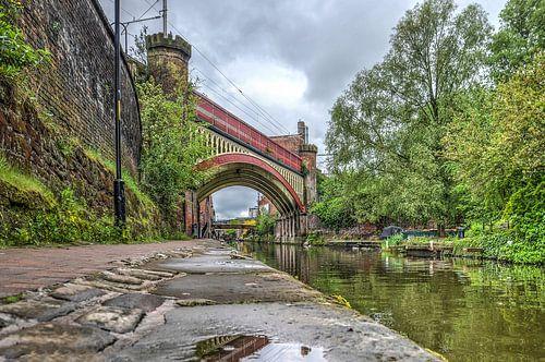 Spoorbrug over het Rochdale Canal, Manchester van