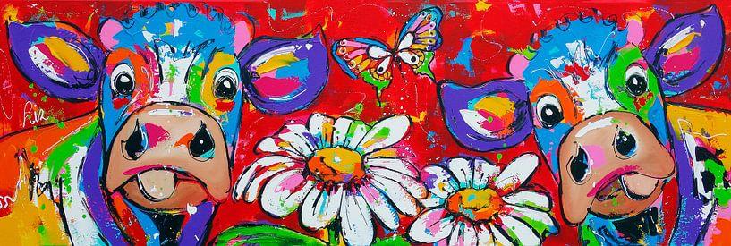 Bloemenmeisjes van Vrolijk Schilderij