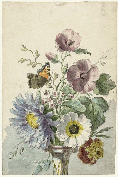 Boeket bloemen met een vlinder, Willem van Leen van Schilders Gilde