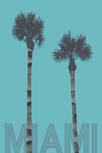 Grafische kunst PALMBOMEN MIAMI | turquoise van Melanie Viola