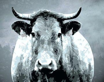 Starke Kuh mit Hörnern - abstrakt von Anna Marie de Klerk