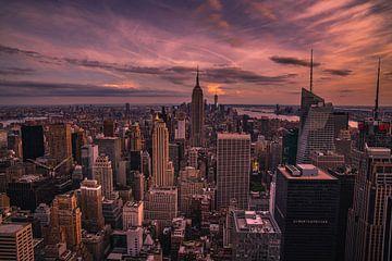 Zonsondergang in Manhattan van