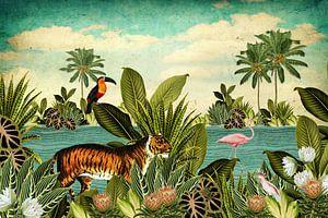 Jungle met toekan, flamingo en tijger van Studio POPPY