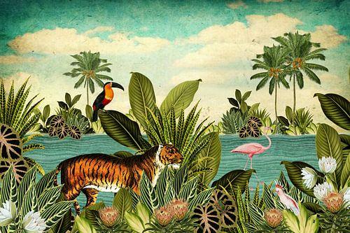 Jungle met toekan, flamingo en tijger