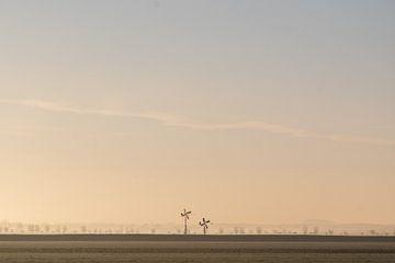 Windmühlen in der Nähe eines Flussdeichs von Wouter Bos