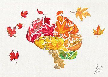 Poster mit Herbstblättern - Vergessen Sie mich nicht von Ilse Schrauwers
