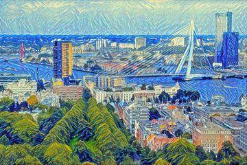 Skyline Rotterdam in de stijl van Van Gogh van Slimme Kunst.nl