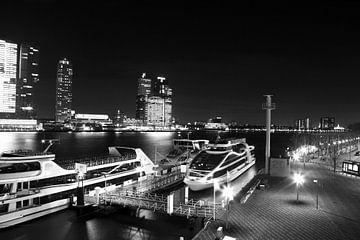 De Rotterdamse Haven vanaf de Erasmusbrug zwart-wit  von Dexter Reijsmeijer