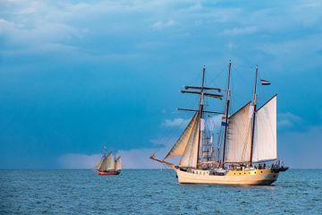 Windjammer on the Baltic Sea in Warnemuende, Germany van Rico Ködder