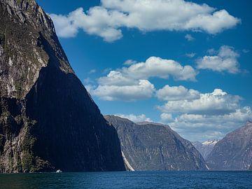 Het perspectief van Milford Sound in Nieuw-Zeeland van Rik Pijnenburg