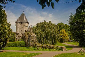Pater Vinktoren in zomers stadspark Maastricht van Peter Wolfhagen