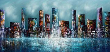 Skyline-Stadt von Gena Theheartofart