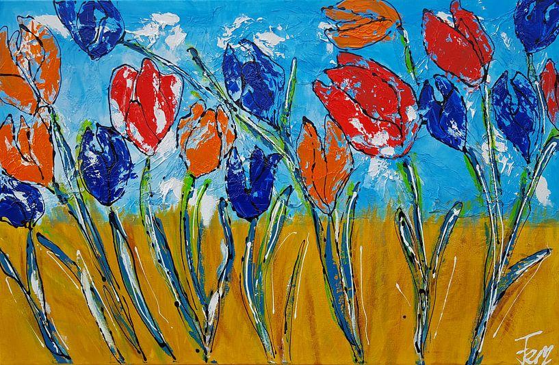 Tulpen (ik hou van Holland) van Femke van der Tak (fem-paintings)