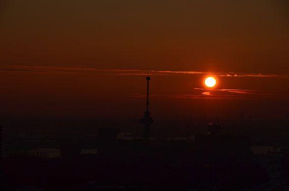 Euromast de Haven van Rotterdam en de Zon van Marcel van Duinen
