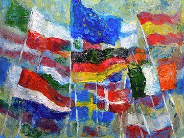 Flaggen Feier der Europäischen Union Corona Recovery Fund von Paul Nieuwendijk