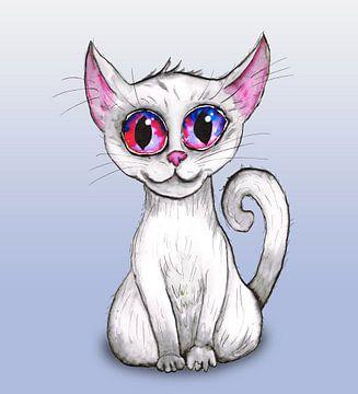 Schattige witte kat van Bianca Wisseloo