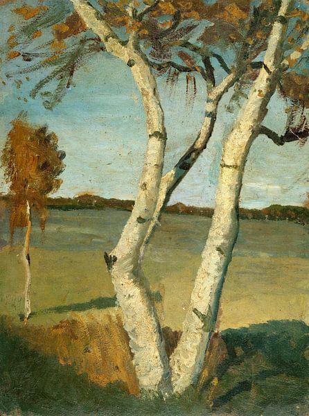 Paula Modersohn Becker.Birken in der Landschaft von 1000 Schilderijen