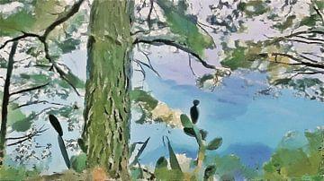 Amalfikust - Natuur aan de Kust van Positano - Schilderij
