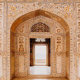 Prachtig marmer in Agra fort in India van Yvette Baur