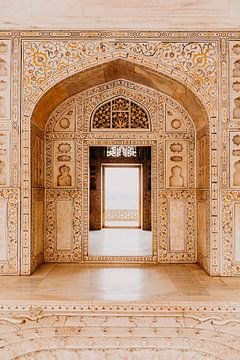 Beau marbre dans la forteresse d'Agra en Inde sur Yvette Baur