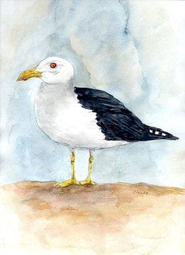 Seagull On The Beach van Sandra Steinke
