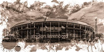 "Feyenoord ART Stade Rotterdam ""De Kuip"" Sépia sur MS Fotografie | Marc van der Stelt"