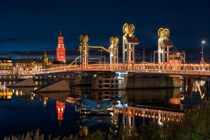 Stadsfront Kampen met Stadsbrug van Fotografie Ronald