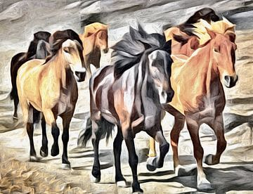 Künstlerische Pferdeherde