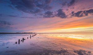 Zonsondergang op de Waddenzee  van