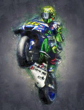 Valentino Rossi olieverf portret 1 van 3 van Bert Hooijer