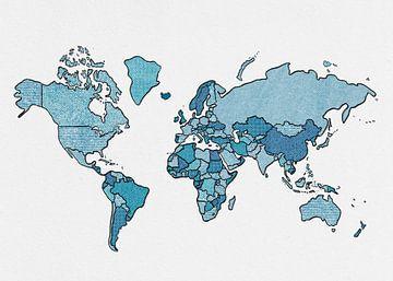 Weltkarte (skizziert, blau) von Studio Malabar