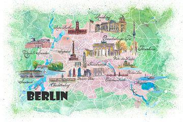 Illustrierte Karte von Berlin mit Sehenswürdigkeiten und Highlights der Hauptstraßen von Markus Bleichner