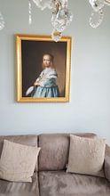 Kundenfoto: Porträt eines Mädchen in blau gekleidet - Johannes Cornelisz, auf leinwand