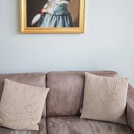 Klantfoto: Portret van een meisje in het blauw, Johannes Cornelisz. Verspronck, op canvas