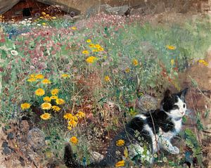 Bruno Liljefors. Kat op een bloemrijke weide