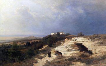 Campagna, Landschaft mit wanderndem Mönch, OSWALD ACHENBACH, 1850 von Atelier Liesjes