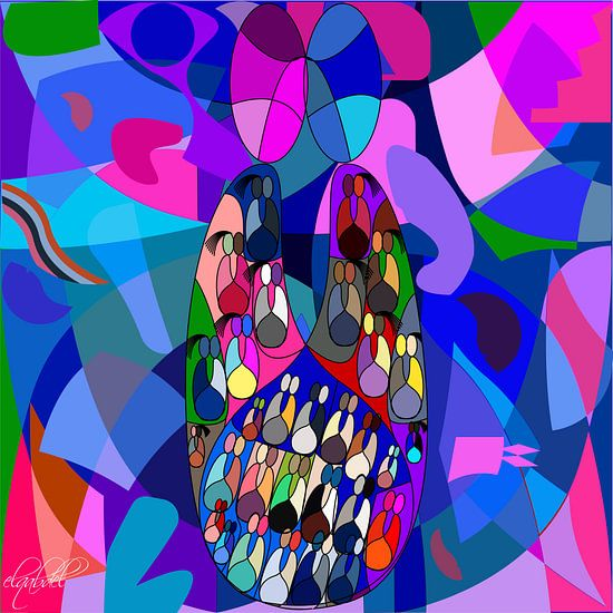 Liefde en de mogelijkheid om samen te leven als een muurschildering voor thuis of op kantoor...