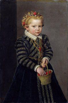 Mädchen mit einer Schüssel Kirschen, unbekannter Künstler