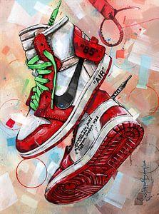 Nike air Jordan 1 Chicago Off White schilderij (rood) van Jos Hoppenbrouwers
