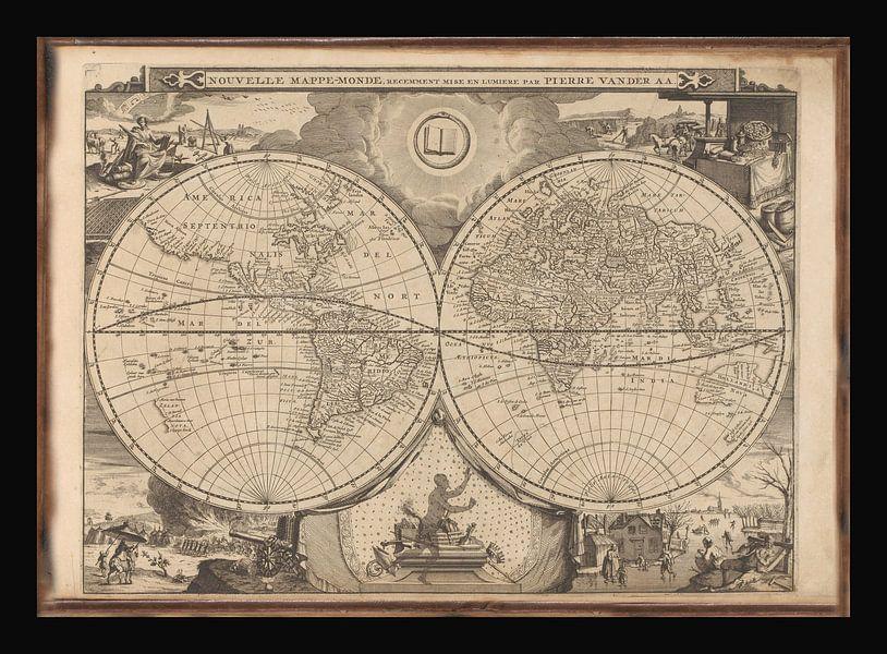 Oude Wereldkaart van omstreeks 1700 van Gert Hilbink
