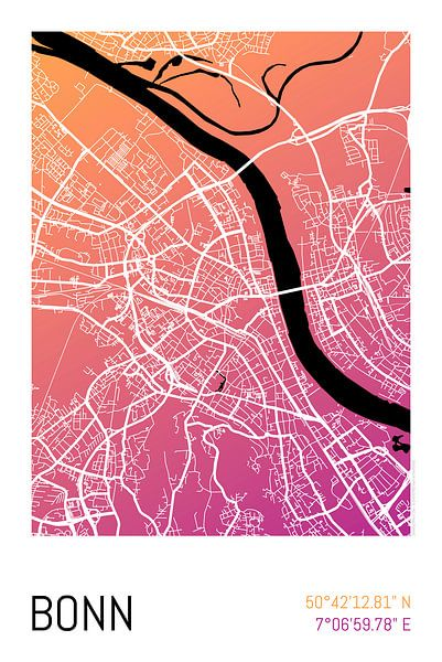 Bonn – City Map Design Stadtplan Karte (Farbverlauf) von ViaMapia