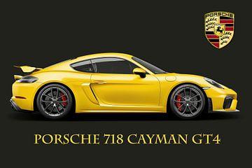 Porsche 718 Cayman GT4 mit Text und Wappen von Gert Hilbink