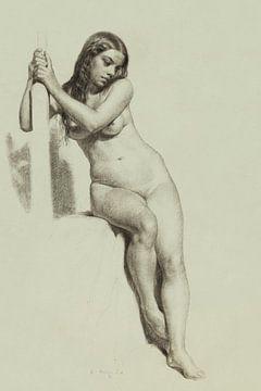 Weiblicher Akt auf einem Hocker , Daniel Huntington (1858) von Atelier Liesjes