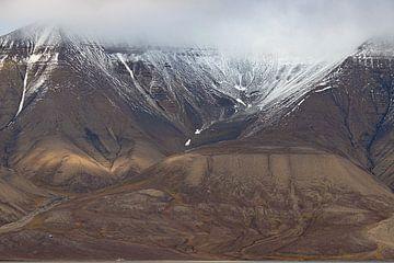 Besneeuwde berg met huisjes in Spitsbergen van Michèle Huge